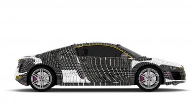 3d car wire model on a white background