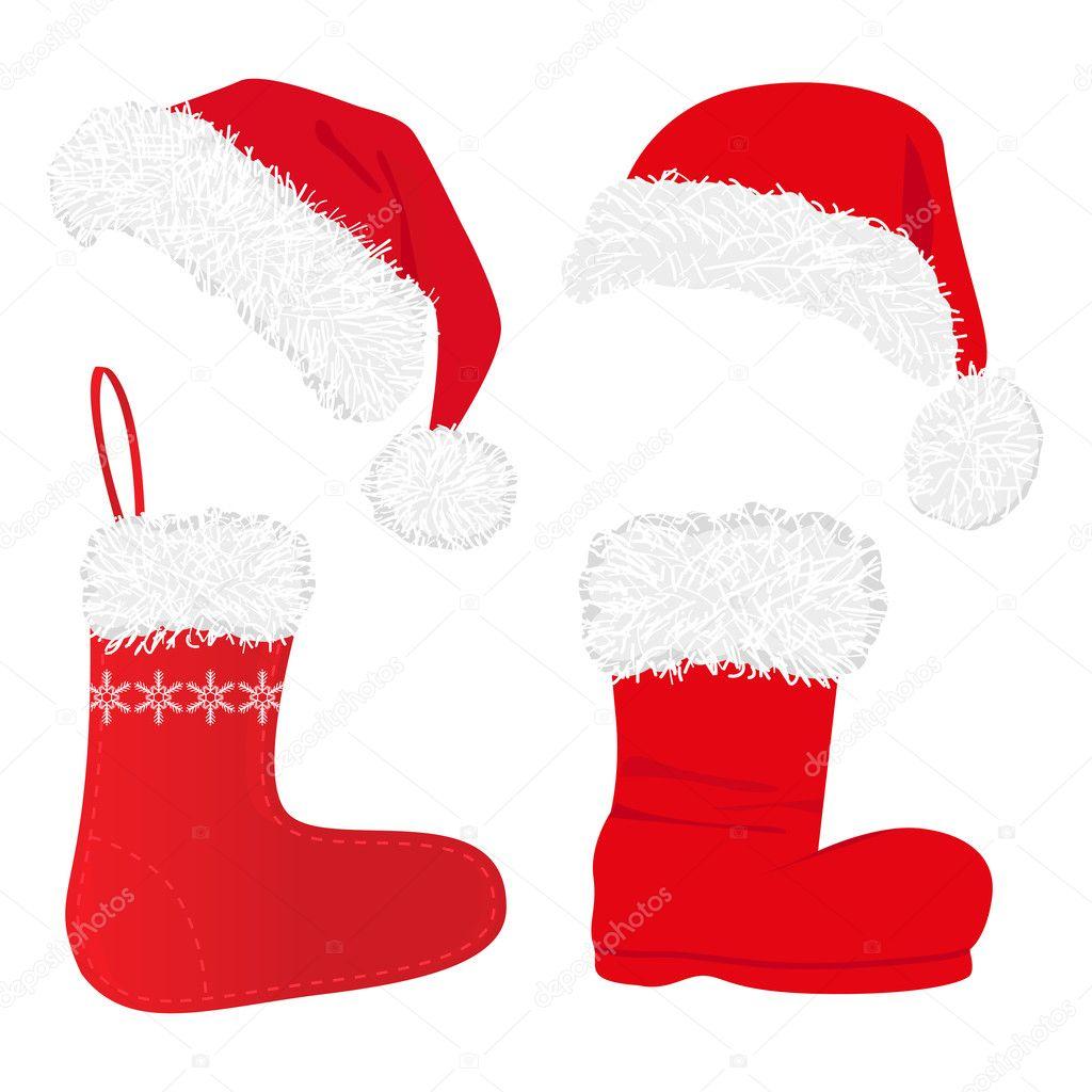 conjunto de hermosas gorras rojas de navidad y calcetines aislados en blanco u vector de