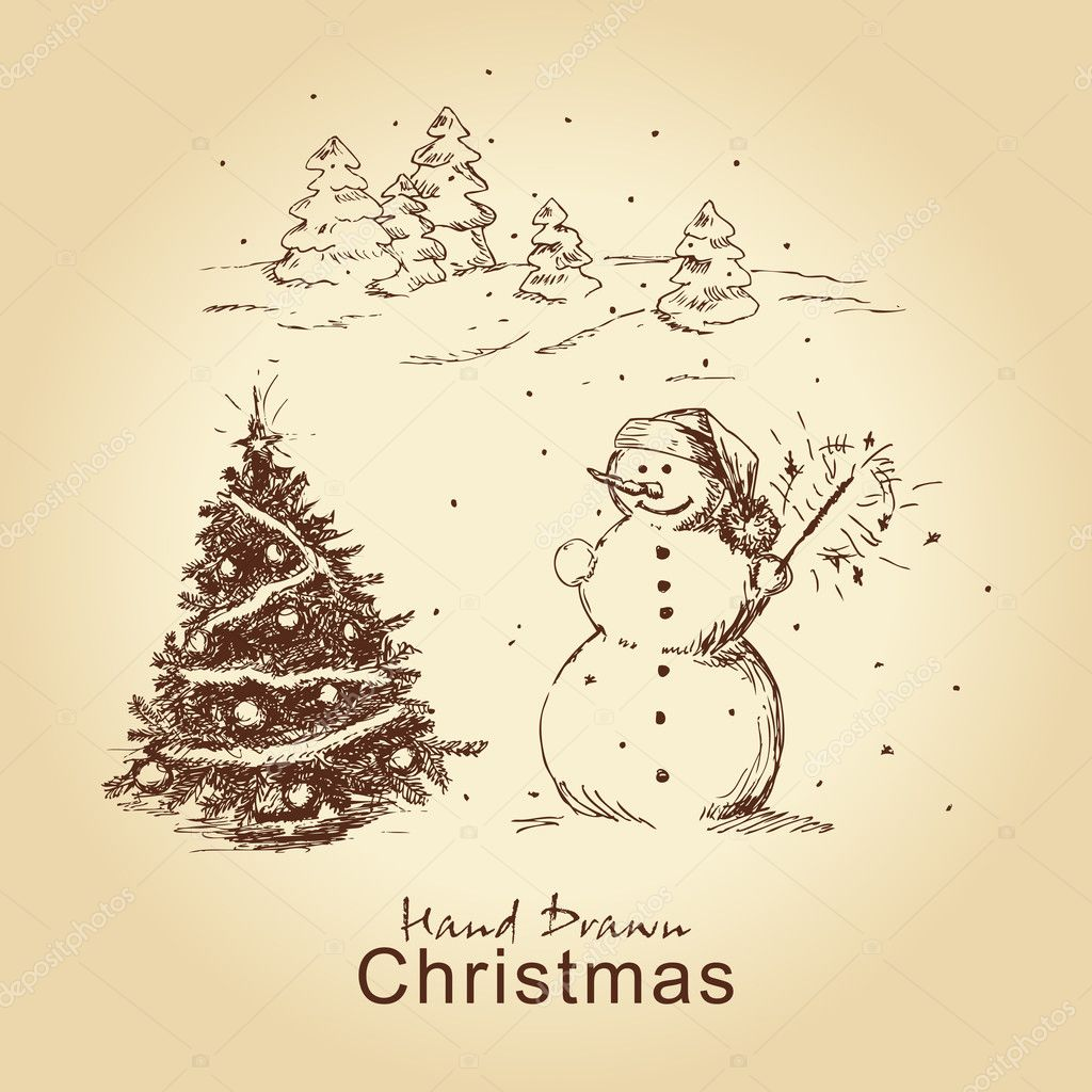 christmas hand drawn card u2014 stock vector chistoprudnaya 7627911