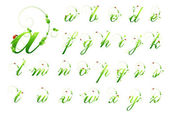 Ecology green pattern font alphabet with leafs and ladybird