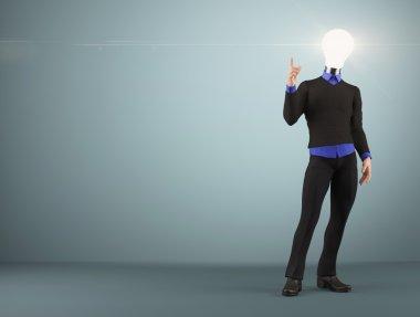 Bulb head businessman with idea