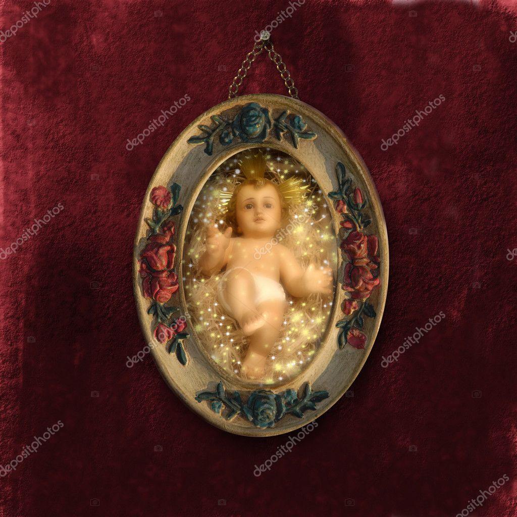 Antike Weihnachtskarten baby jesus — Stockfoto © Risia #7155856