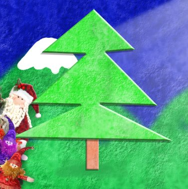 Christmas card funny Santa and elves