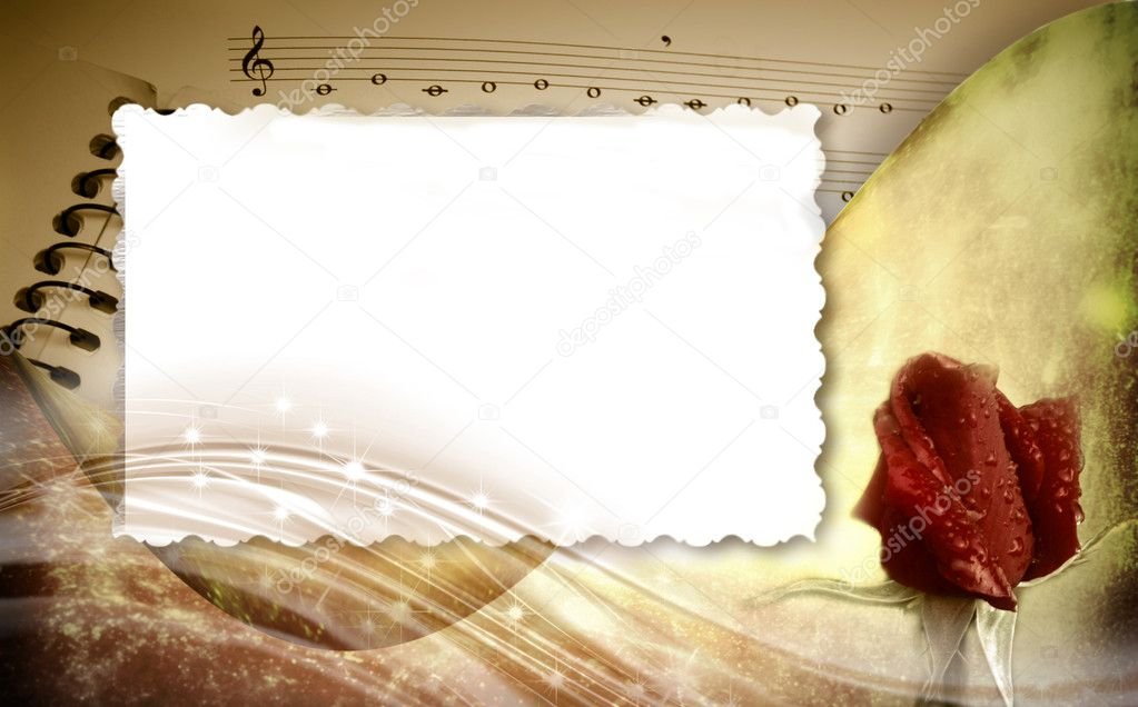 Romantic musical background with frame — Stock Photo © Risia #7329347