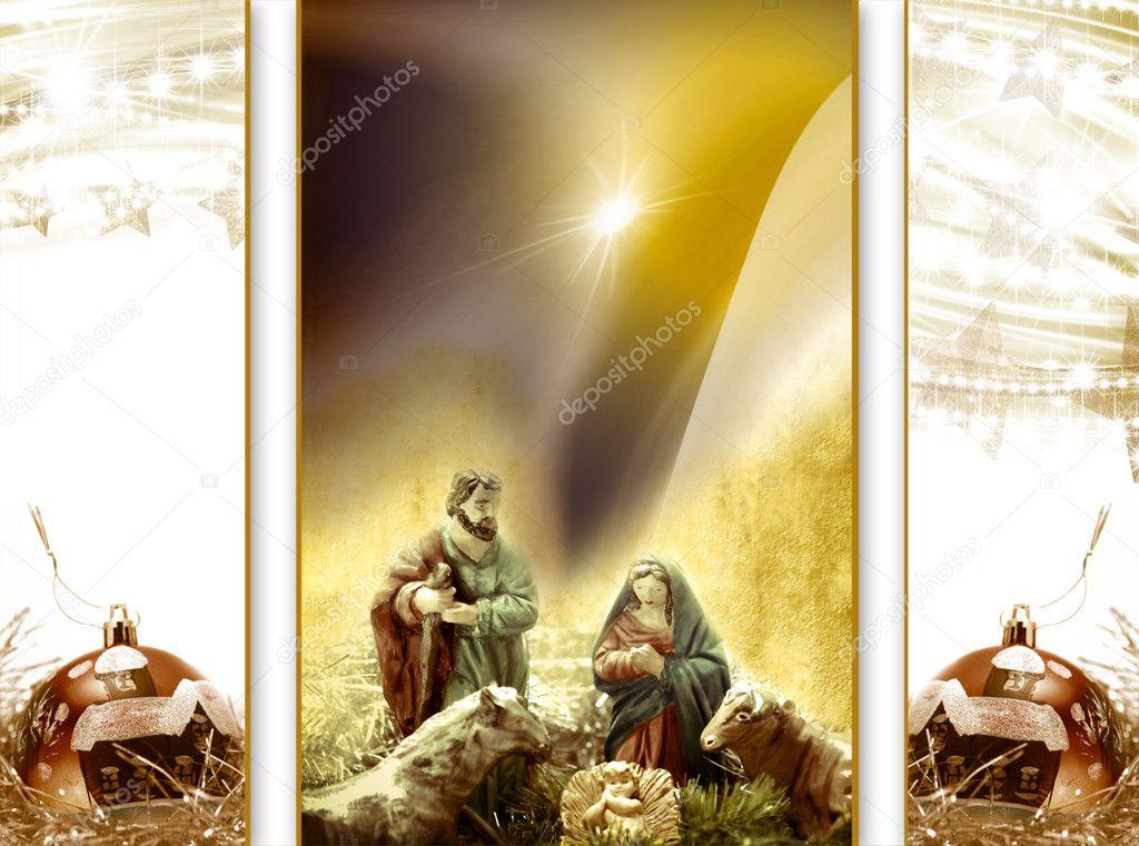 Weihnachtskarte Gruß, Krippe — Stockfoto © Risia #7492072