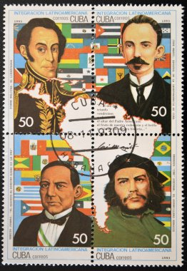 Stamp shows historical figures of Latin American integration