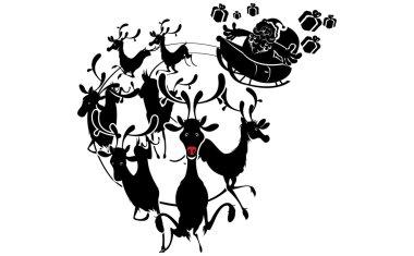 Reindeer Silhouette And Santa Claus Christmas