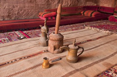 Arabic coffee pots,Grinder in a Bedouin tent