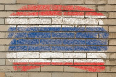 Flag Thailand of on grunge brick wall painted with chalk