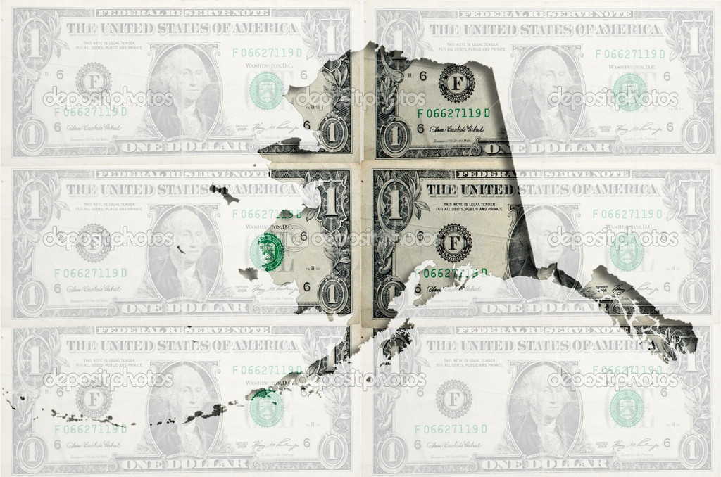 Outline Map Of Alaska With Transparent American Dollar Banknotes - Us map transparent background