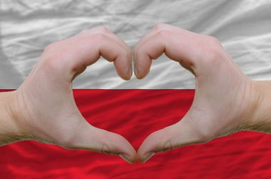 Heart and love gesture showed by hands over flag of poland backg
