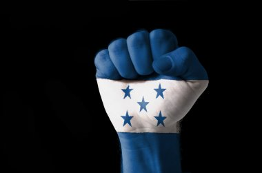 Fist painted in colors of honduras flag