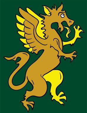 Standing heraldic griffin cartoon character