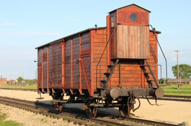 Deportation wagon at Auschwitz Birkenau