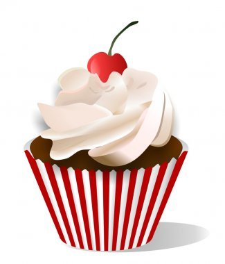 Vector cupcake with cherry