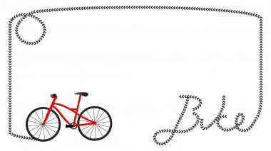 Frame formed by tire print of a red mountain bike that formed the word