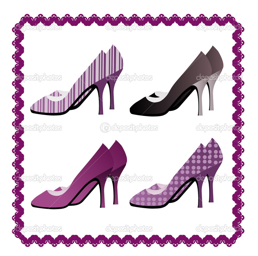 c6232087a4 Four pairs of shoes framed by violate lace — Stock Vector © tutkom ...