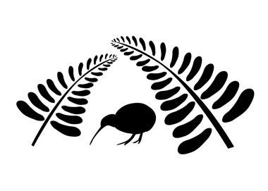 Kiwi bird under fern