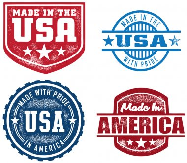 Selection of made in USA/America stamps. clip art vector