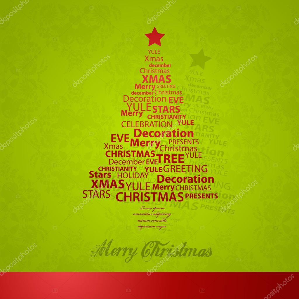 Weihnachtsbaum Weihnachten Wörter — Stockvektor © kormi #7869959