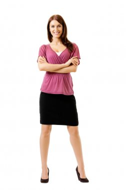 Full body portrait of young business woman, isolated on white