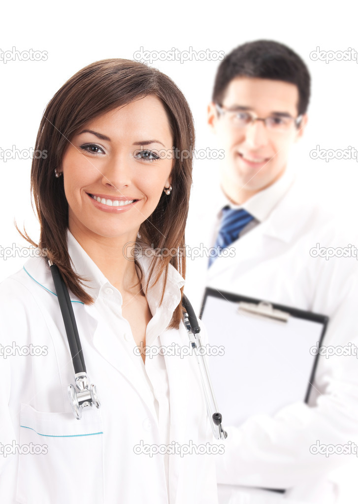 Happy doctor and colleague on background, isolated on white
