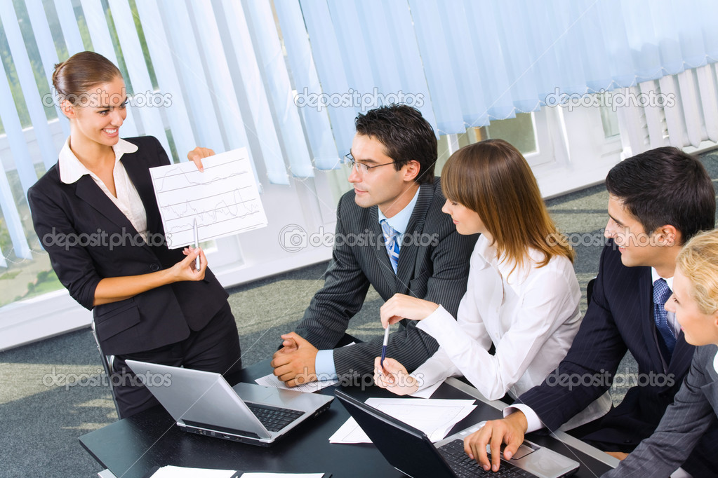 Business at business meeting, seminar or conference