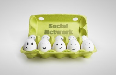 Group of happy eggs with smiling faces representing a social network