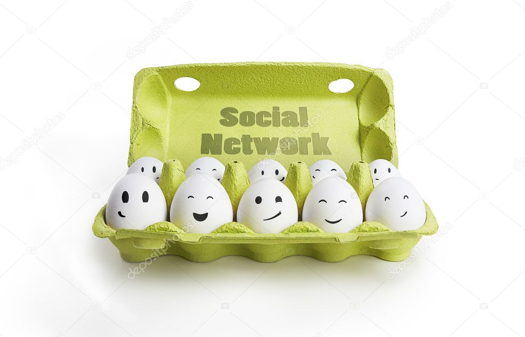 Group of happy eggs with smiling faces representing a social network.