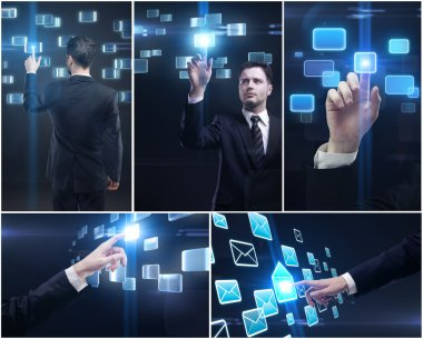 Set of business man and hands pushing a button on a touch screen interface
