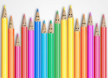 Group of coloured pencils with smiling faces representing a social network