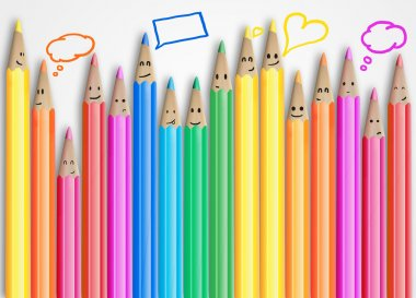 Group of coloured smiling pencils with social chat sign and speech bubbles.