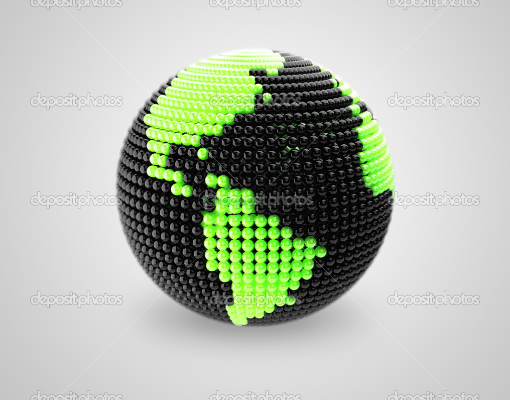 Model of Earth made of color beads, ball.
