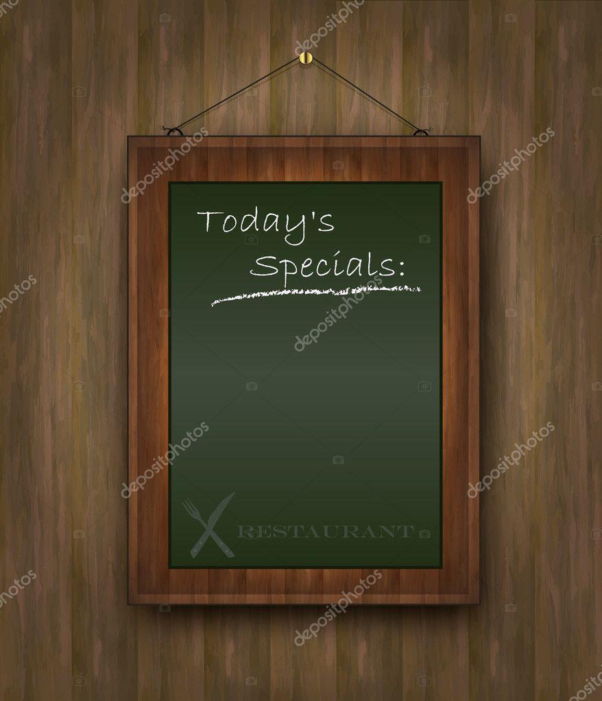 vector blackboard wood menu todays special restaurant green