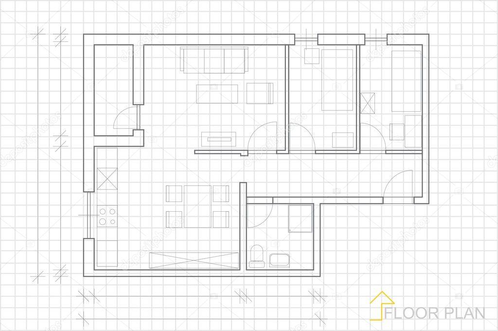 House plan blueprint vector stock vector slavicapopovska 7498959 architectural blueprint background vector by slavicapopovska malvernweather Image collections