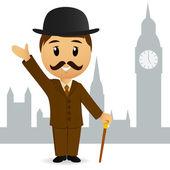Fotografie Cartoon english gentleman greeting