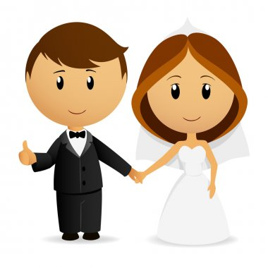 Vector illustration. Cute cartoon wedding couple holding hand stock vector