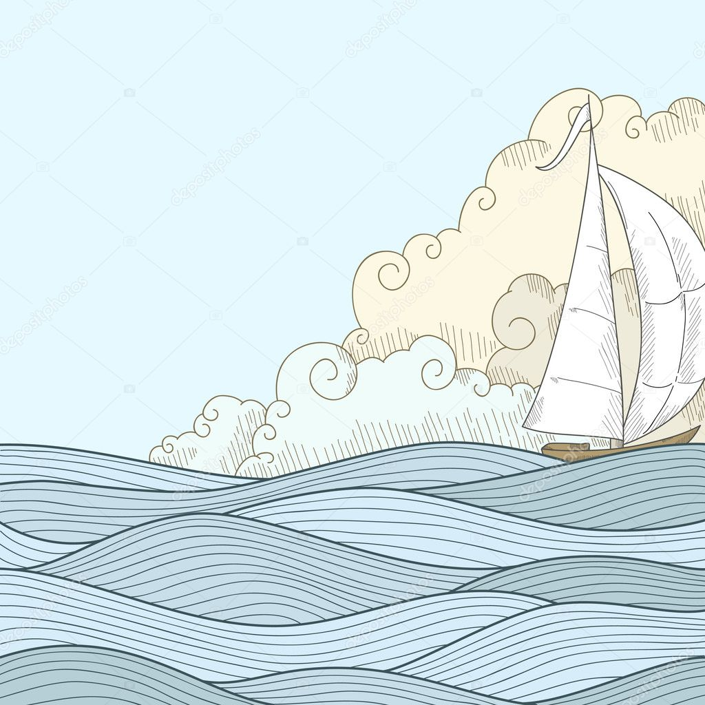 Retro hand draw styled sea sailor boat