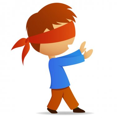 Cartoon man walk with blindfold on face. Vector illustration. stock vector