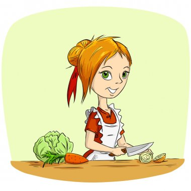 Cartoon woman housewife cooking vegetables with knife. Vector illustration. stock vector