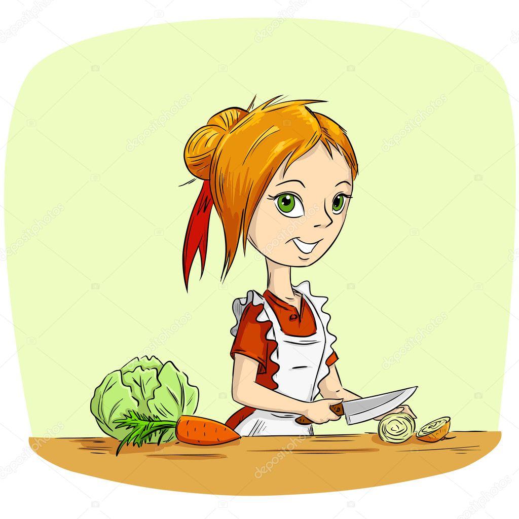 Ama de casa de dibujos animados cocinar verduras archivo for Cocinar imagenes animadas