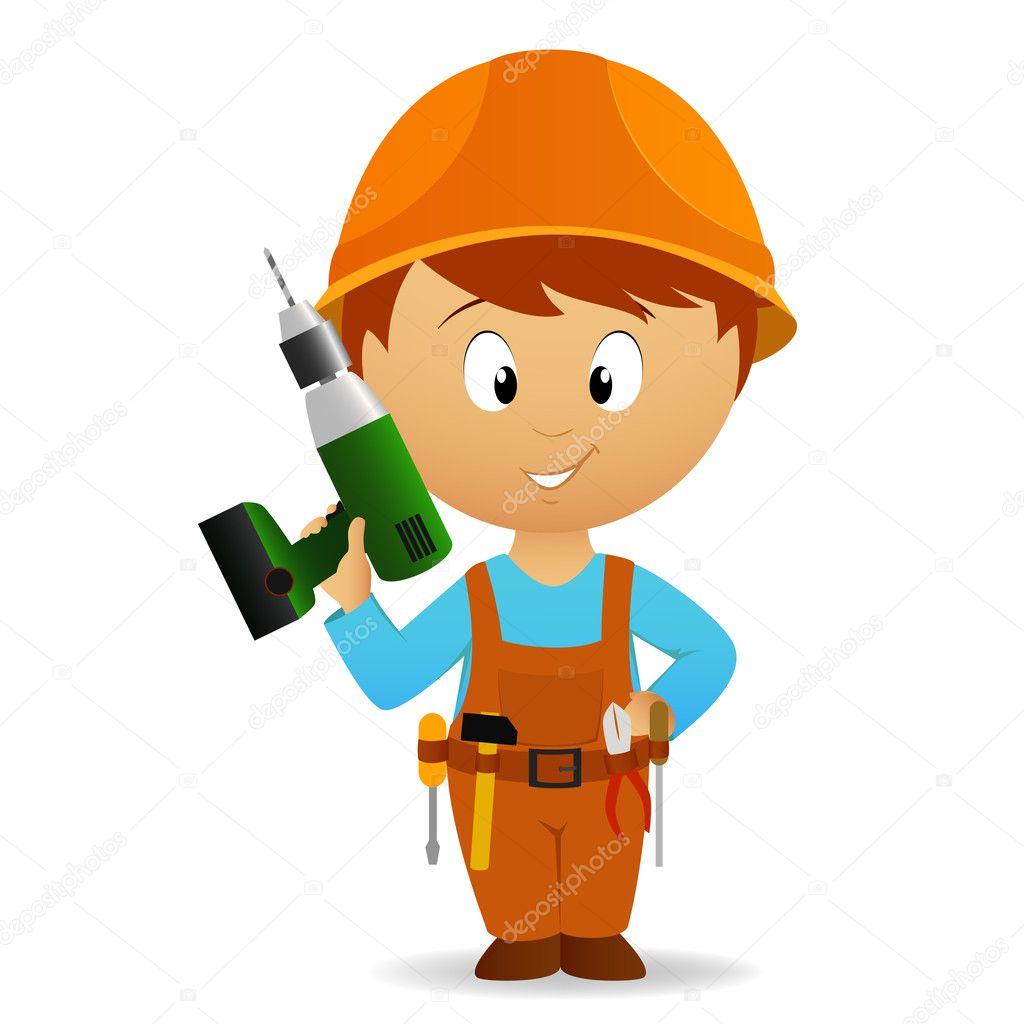 cartoon handyman with tools belt and drill u2014 stock vector