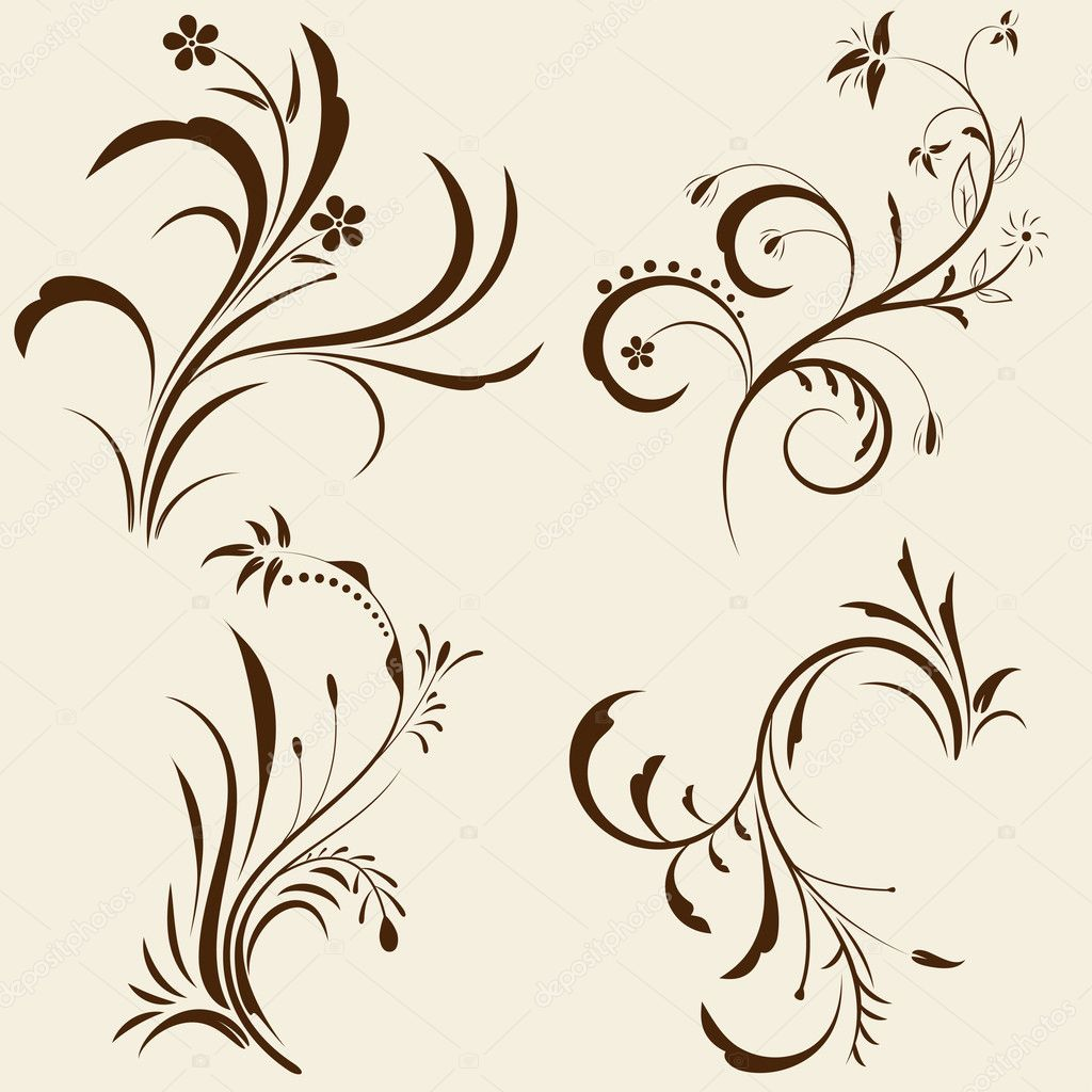 Set of decorative floral ornament