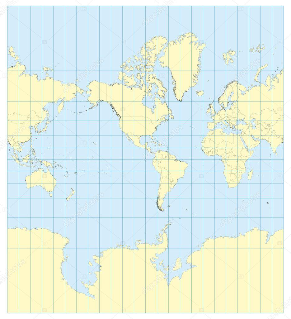 Map of the world mercator america vector de stock alfonsodetomas map of the world mercator america vector de stock gumiabroncs Choice Image