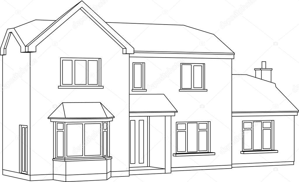 Casa de perspectiva de dois pontos vetores de stock for Easy to draw mansion