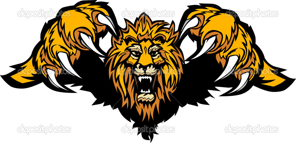 Lion Mascot Pouncing Graphic Vector Image