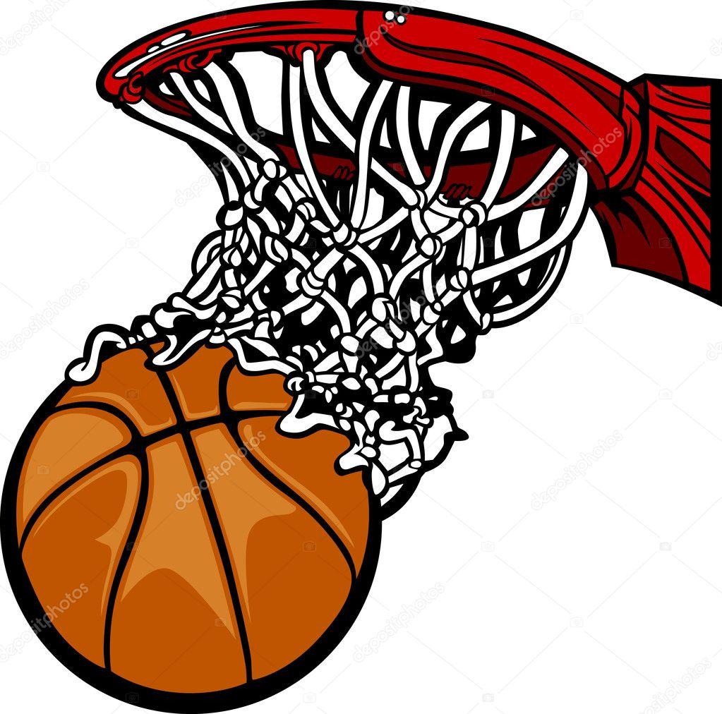 Panier de basket avec le dessin anim de basket ball image vectorielle chromaco 6769917 - Dessin basket ...