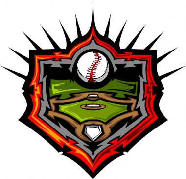 Baseball Field with Baseball Vector Image Template Baseball Fiel