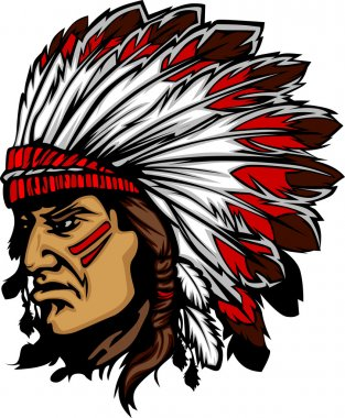 Native American Indian Chief Mascot with Headdress Graphic stock vector