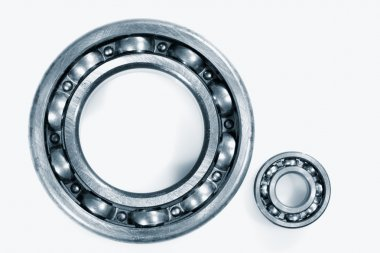 Ball bearings set against white background